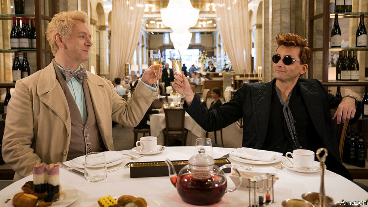 Aziraphale and Crowley, toasting at the Ritz.